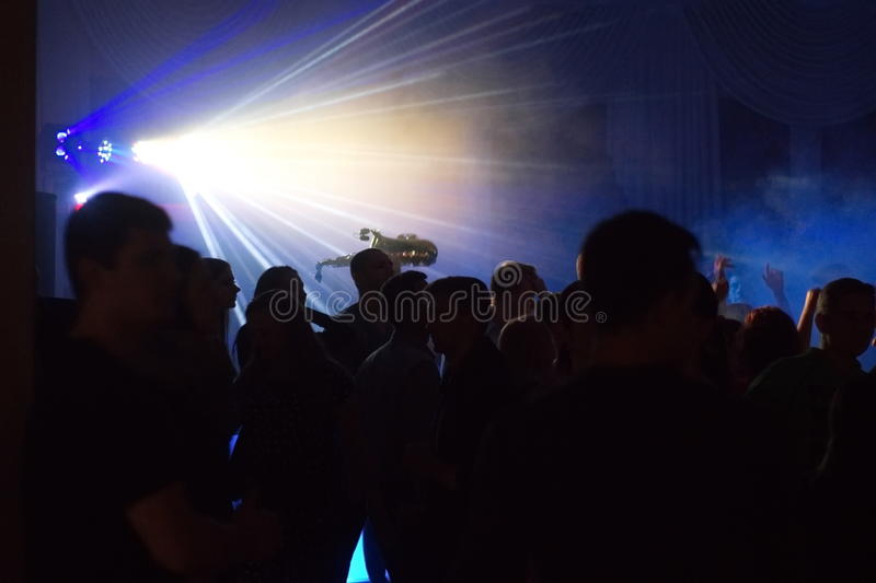 People having fun in a disco. blur effect stock images