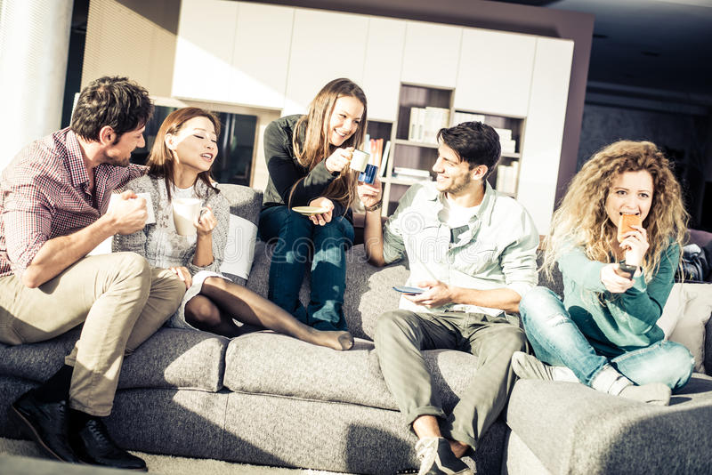People having fun at home royalty free stock photography