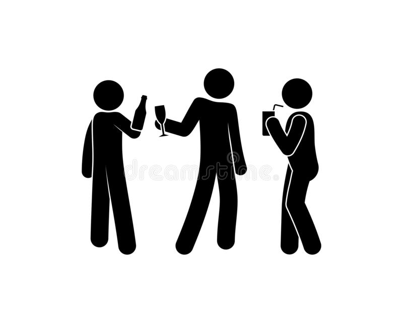 People having fun at a party, illustration drinking alcohol, stick figure man icon royalty free illustration