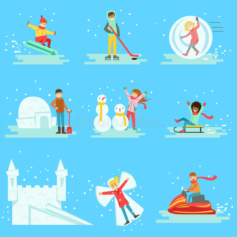 Download People Having Fun In Snow In Winter Collection Of Illustrations Stock Vector - Illustration of kids, clothing: 80671310
