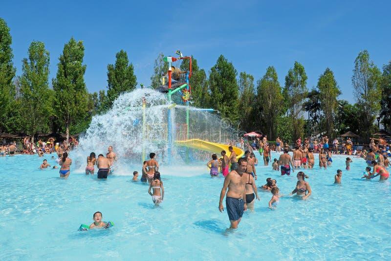 People having fun in the swimming pool in water park stock photo