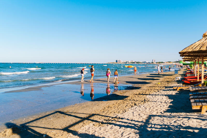 People Having Fun In Water And Relaxing In Mamaia Beach Resort At The Black Sea In Romania royalty free stock photography