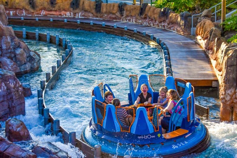 People having fun the world`s tallest drop in Infinity Falls at Seaworld in International Drive area 10. Orlando, Florida. December 19, 2018. People having fun royalty free stock image