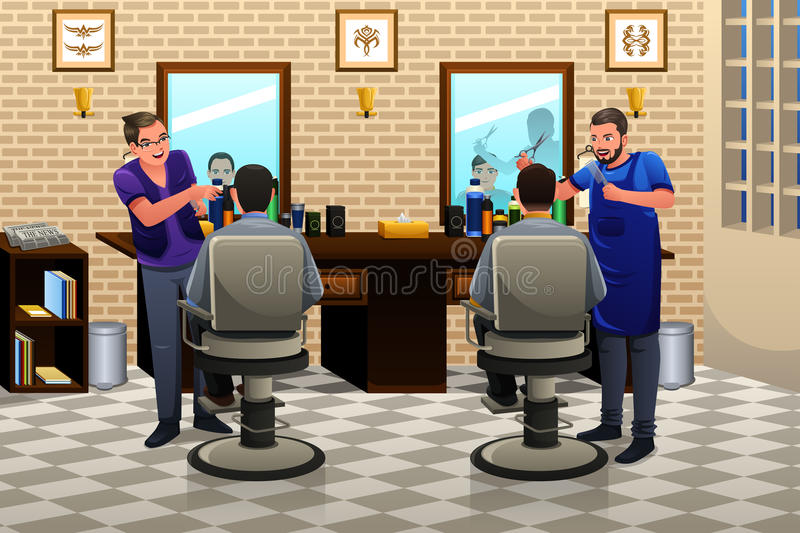 People Having Haircut. A vector illustration of people having haircut in a barber shop vector illustration