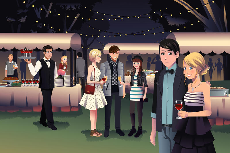 People having a night party outdoor vector illustration
