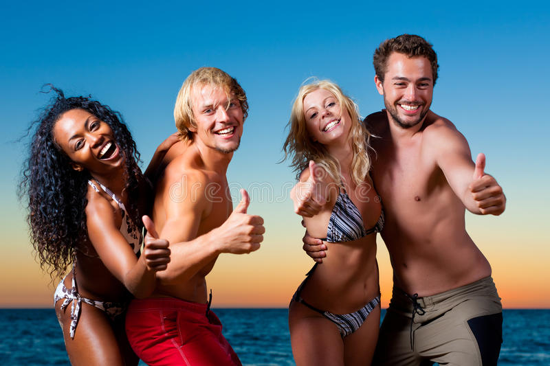 People having party at beach royalty free stock photos