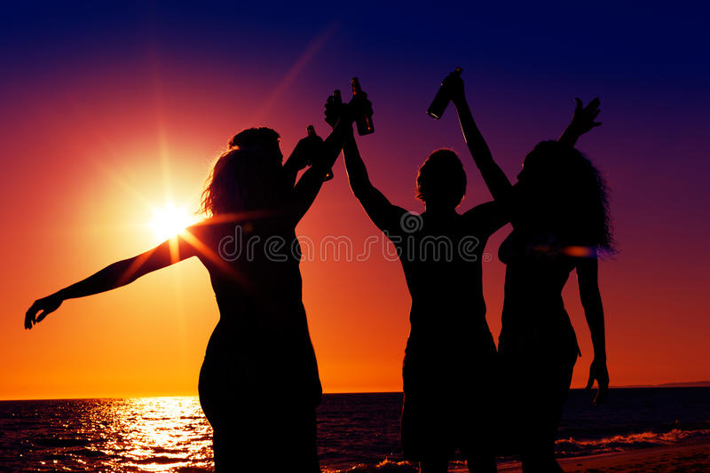 Download People Having Party At Beach With Drinks Royalty Free Stock Image - Image: 23221776