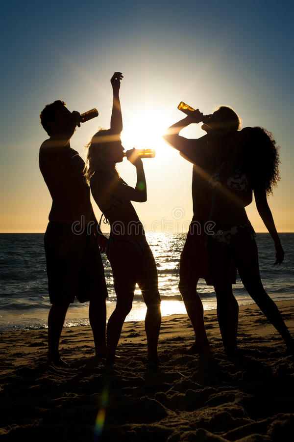 Download People Having Party At Beach With Drinks Stock Photo - Image: 32267650