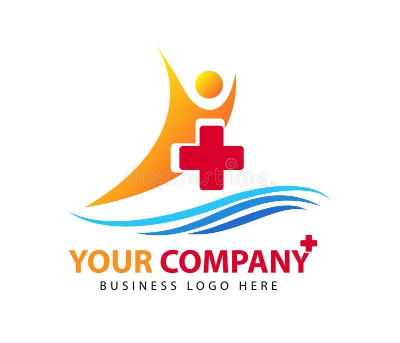 People health care concept sea logo icon on white background stock illustration