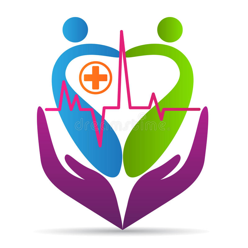 People heart care logo wellness healthcare love hospital symbol vector icon design. royalty free illustration