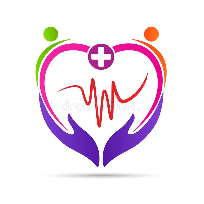 People heart care wellness healthcare logo vector illustration