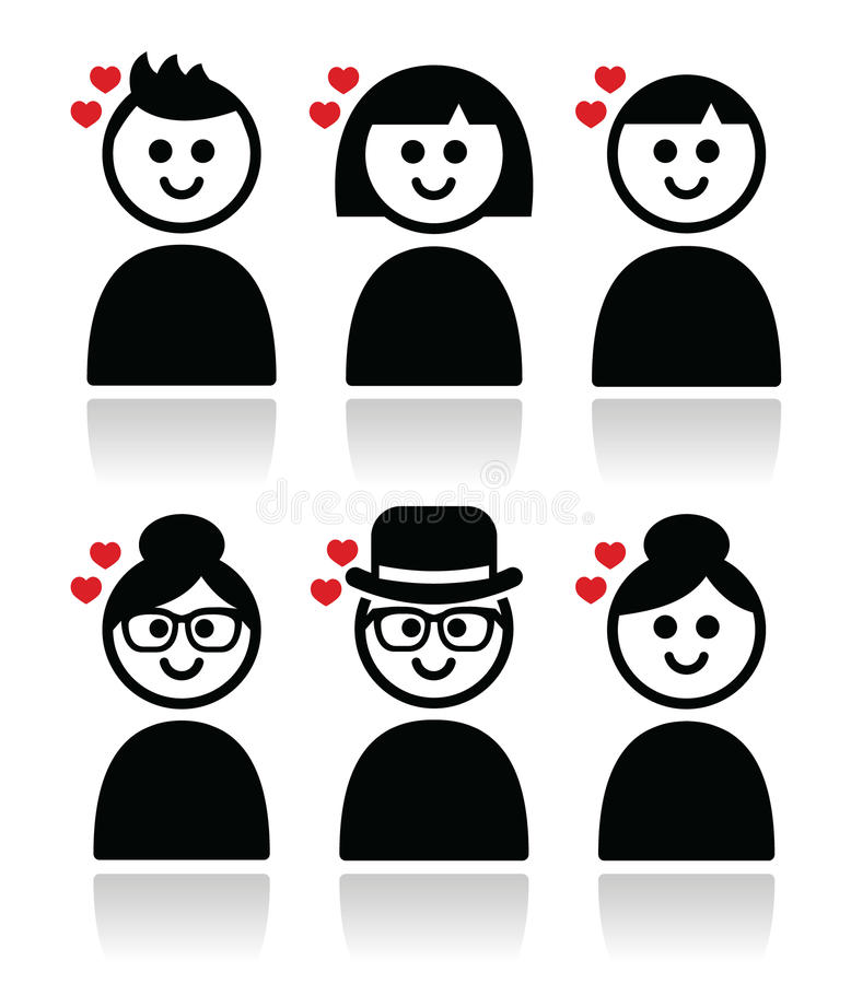 Download People With Hearts, Love, Valentine's Day Icons Set Stock Illustration - Illustration of emoticon, concept: 37260888