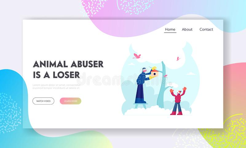 People Help to Birds in Cold Season Website Landing Page. Happy Family Father and Little Son Hanging Birdhouse on Tree royalty free illustration