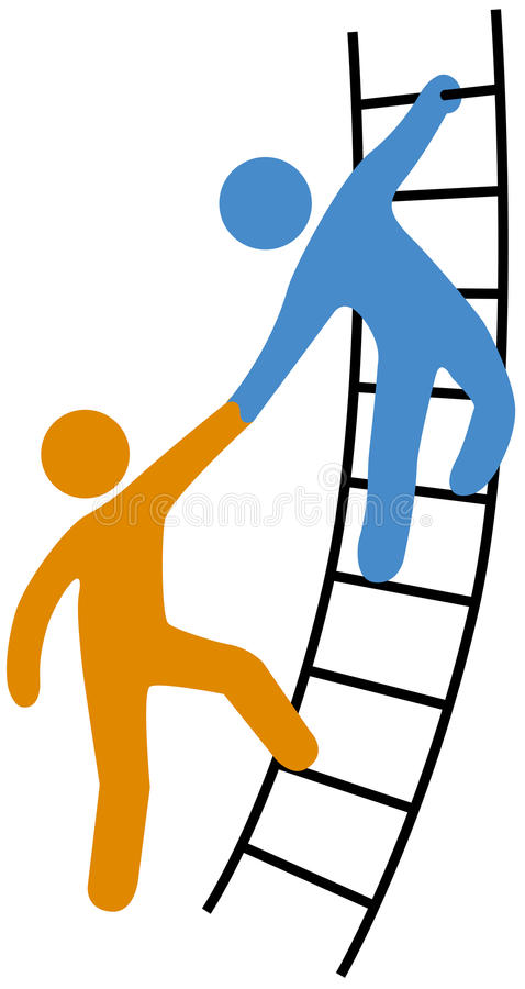 People helping join up ladder vector illustration