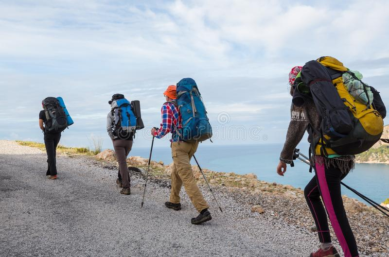 People in hike. In the mountains stock photos