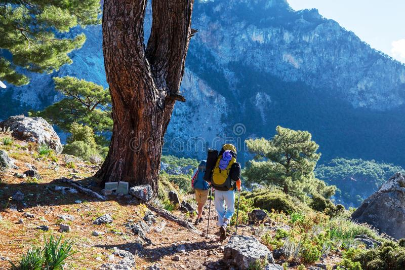 People in hike. In the mountains royalty free stock photo