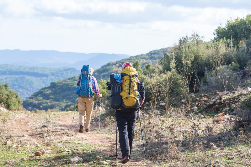 People in hike. In the mountains royalty free stock photos