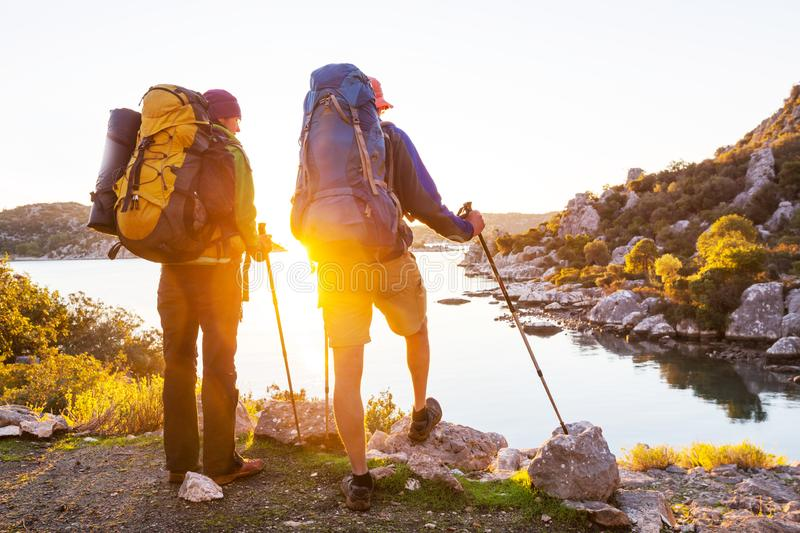 People in hike. In the mountains royalty free stock photography