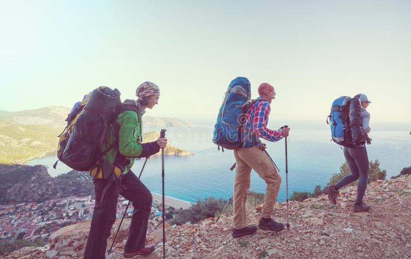 People in hike. In the mountains royalty free stock image