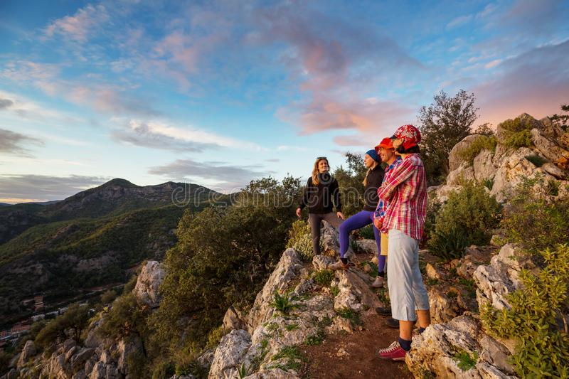 People in hike. In the mountains stock images