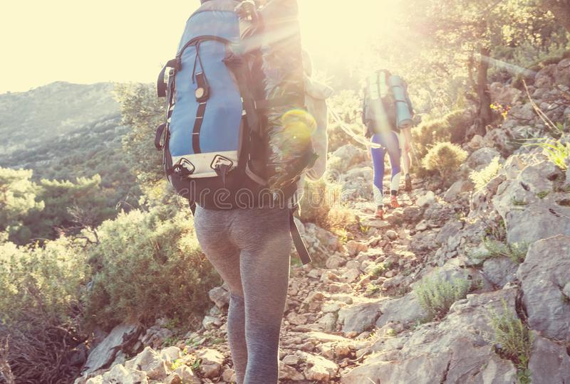 People in hike. In the mountains royalty free stock images