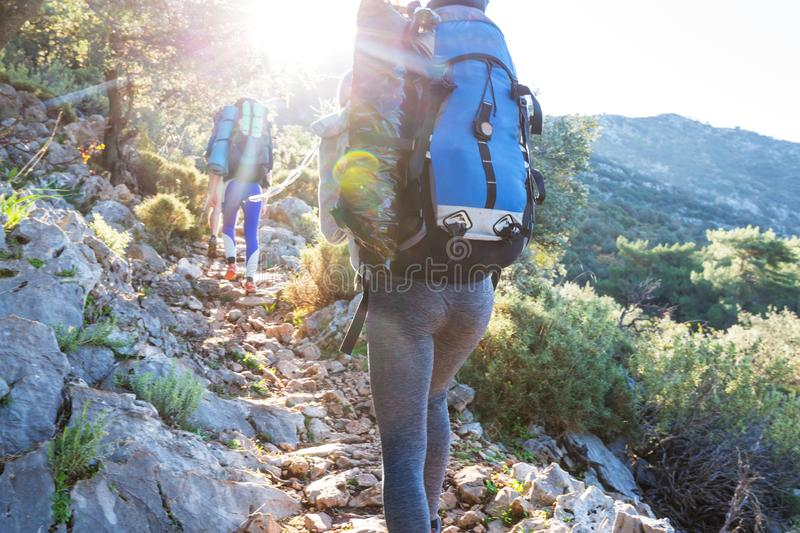 People in hike. In the mountains stock photography