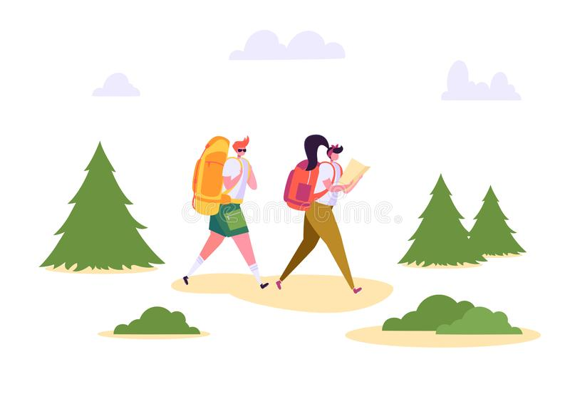 People Hiking Backpack Forest Nature Landscape. Man Woman Walk in Summer Park. Weekend Adventure Camping. Couple royalty free illustration