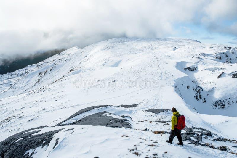 People hiking on the beautiful snow mountains. kahurangi national park, New Zealand. I royalty free stock image