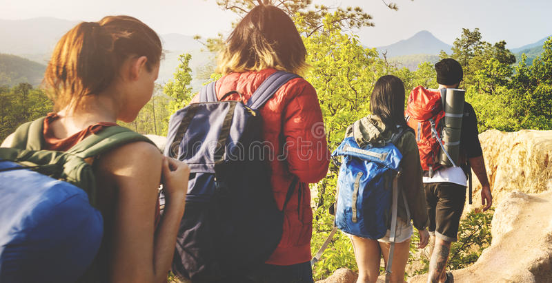 People Hiking Mountain Adventure Concept stock photo