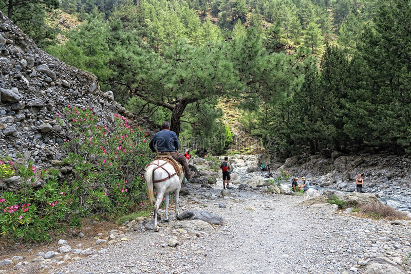 People hiking through the Samaria Gorge at Crete Greece royalty free stock images