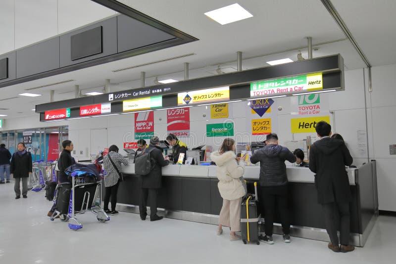 Car rental hire Narita airport Tokyo Japan. People hire cars at Narita international airport in Tokyo Japan royalty free stock photo