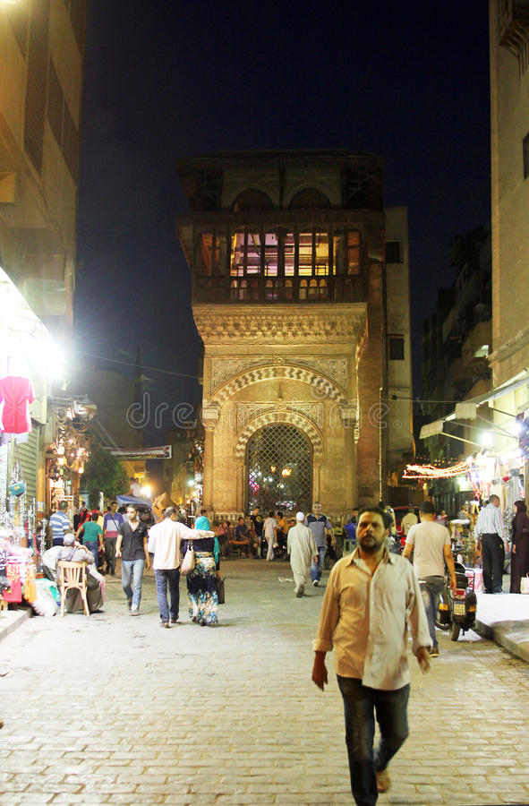 People in historical Moez street in egypt. People in historical Moez street in old cairo in egypt royalty free stock photos
