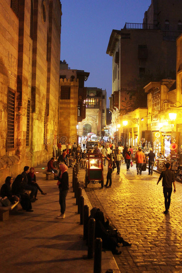 People in historical Moez street in egypt stock images