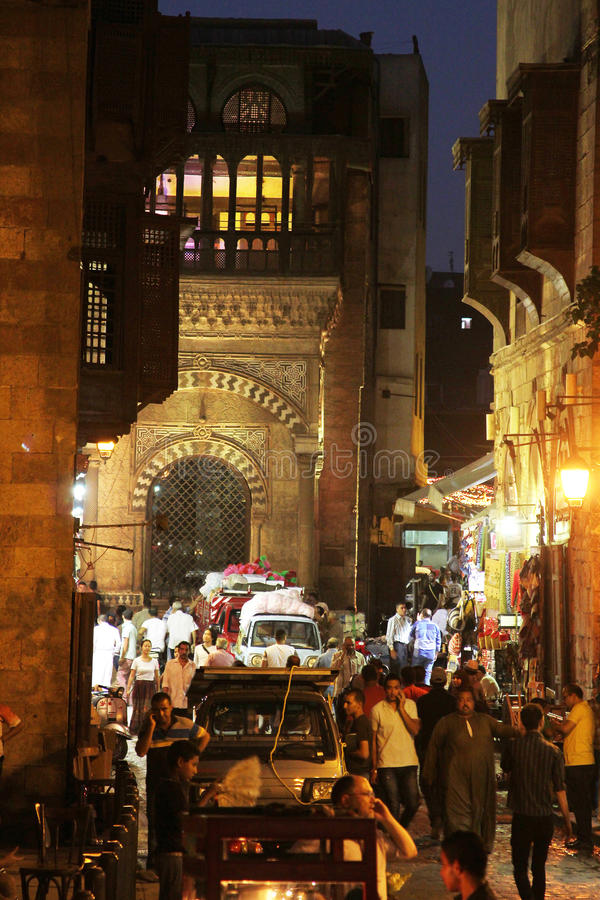 People in historical Moez street in egypt. People walking in historical Moez street in old cairo in egypt royalty free stock images