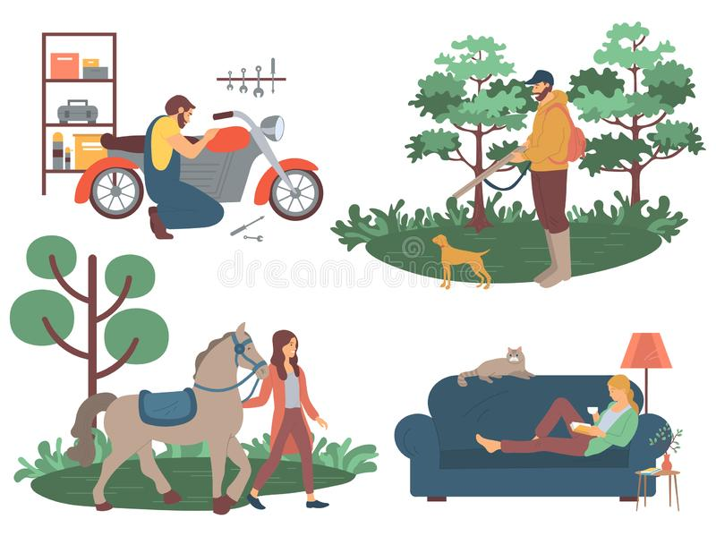 People with Hobbies, Reading Hunting Equine Sports. Motorbike repairing mechanics garage vector, interest of biker, reading woman. Horse and lady, hunting person vector illustration