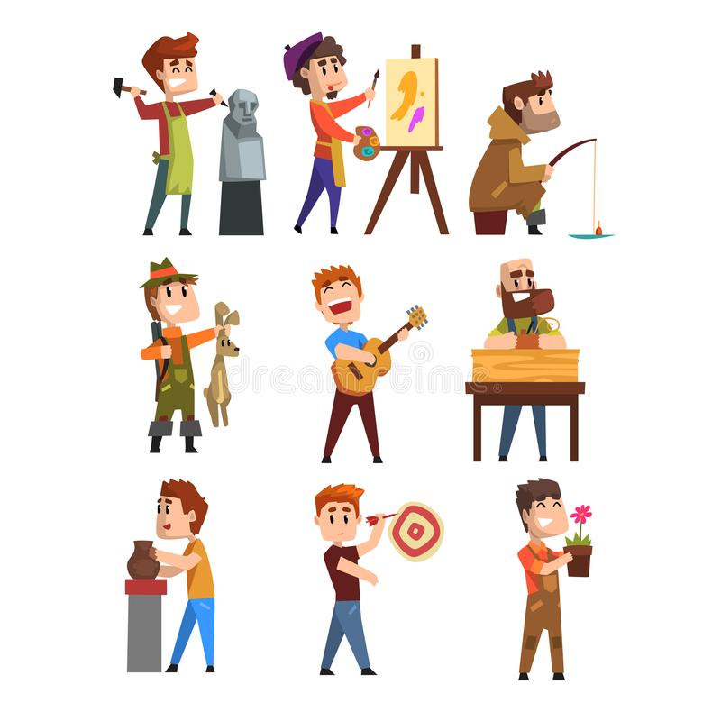 People hobby set. Cartoon male characters. Sculpturing, painting, fishing, hunting, playing guitar, gardening, playing. People hobby set. Creative and artistic vector illustration