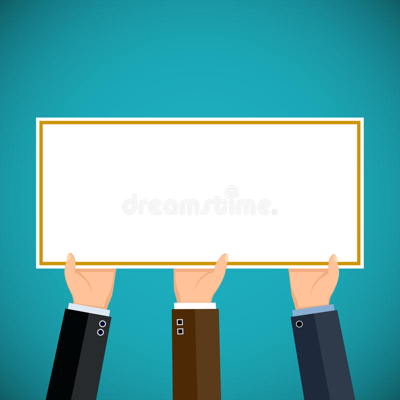 People hold in hands a sign. Pickets and demonstrations. vector illustration