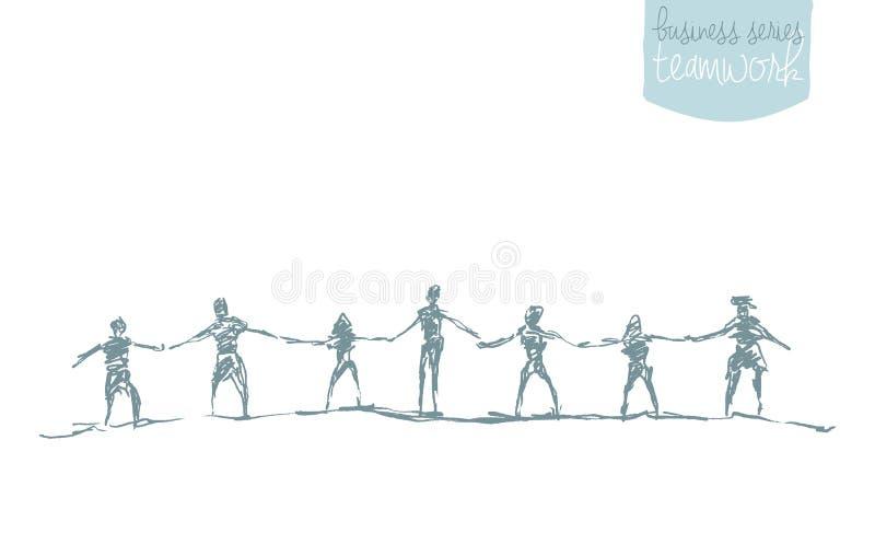 People hold handsspirit togetherness vector drawn. vector illustration