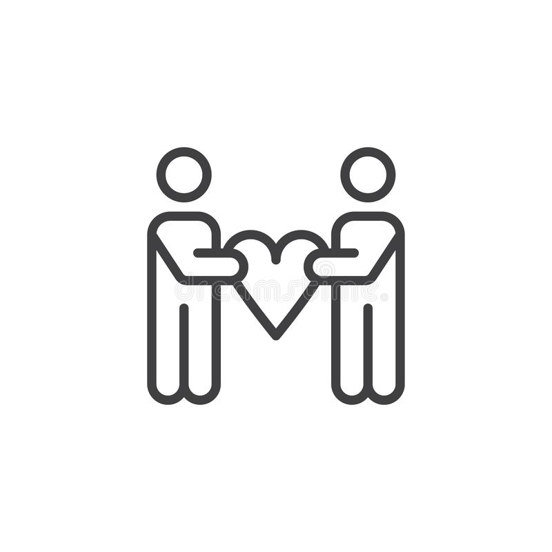 People hold heart outline icon stock illustration