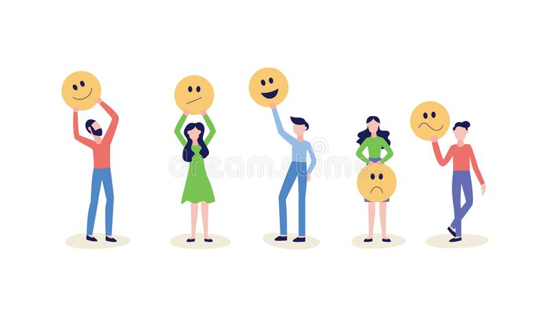 People hold smile face icon or emoticon set of flat vector illustrations isolated. vector illustration