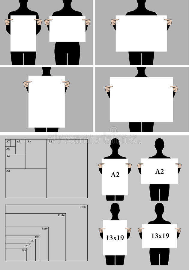 people holding blank poster templates, vector set stock vector, Powerpoint templates