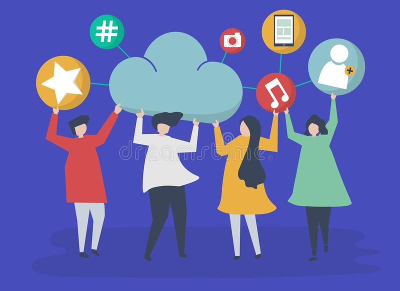 People holding cloud and social networking icons illustration royalty free illustration