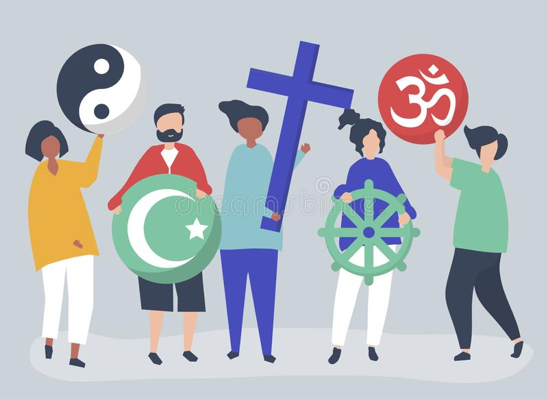 People holding diverse religious symbols illustration stock illustration