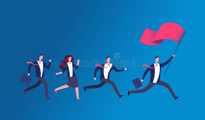 People holding flag and running. Business leader leading office team. Leadership vector concept. Illustration of leader man business with red flag stock illustration
