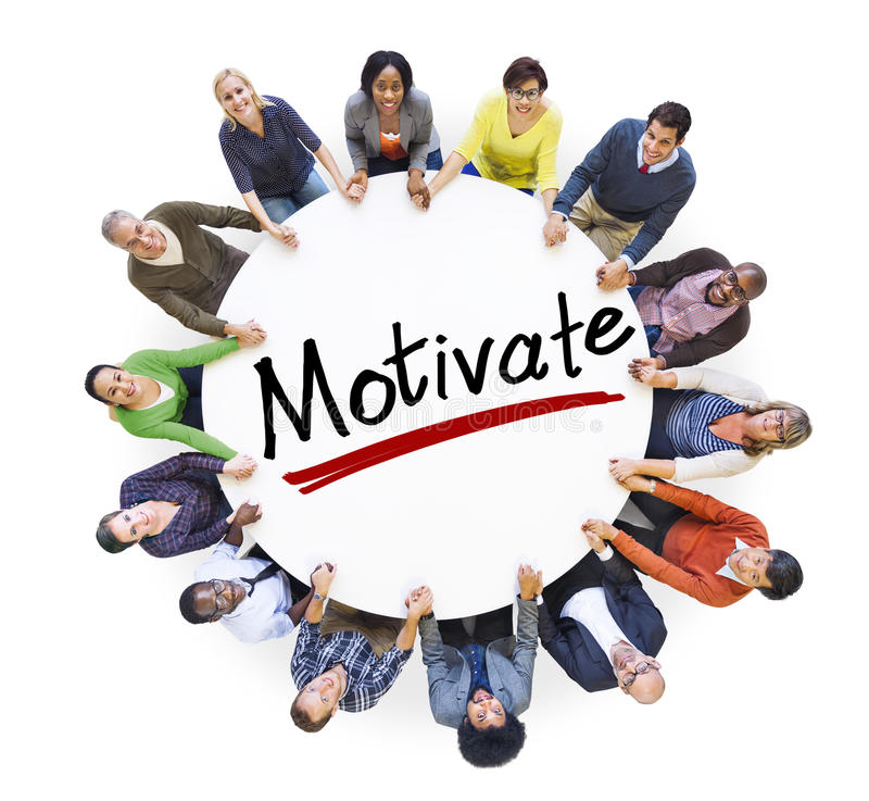 People Holding Hands Around Letter Motivate. Group of People Holding Hands Around Letter Motivate royalty free stock photo