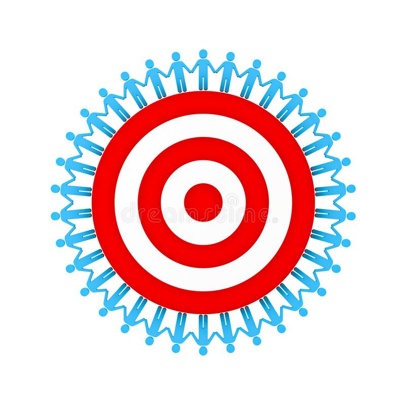 People Holding Hands Around red target or dartboard the teamwork business concept isolated on white background royalty free illustration