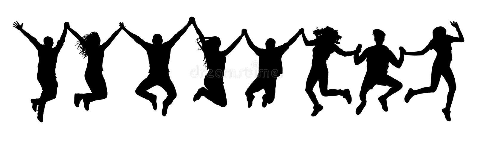 People holding hands in a jump silhouette. vector illustration
