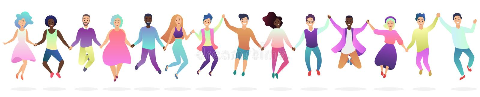 People holding hands in a jumping together silhouette vector illustration. stock illustration
