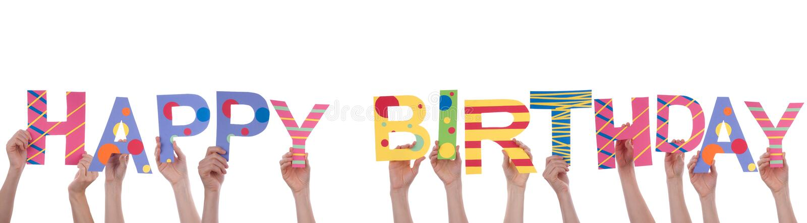 People Holding Happy Birthday. Many People Holding a Colorful Happy Birthday, Isolated stock photo