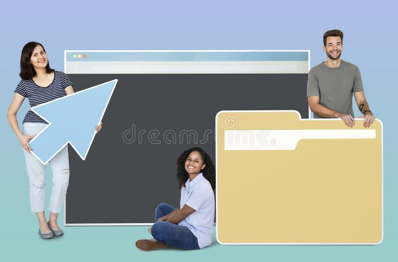 People holding internet and file sharing icons stock images